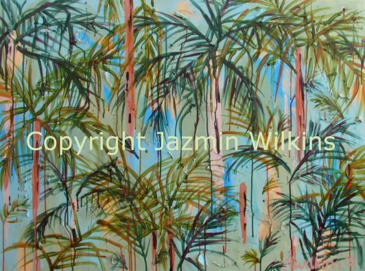Rainforest Solitude - Acrylic on Canvas - 2016. 102cm X 76cm, $595 plus post
