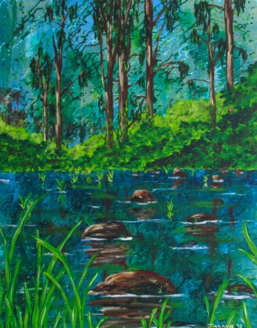 Wild (The Creek Crossing) - Acrylic on Canvas - 2016 61cm X 77cm Painted on 10oz, Double Primed Canvas, Stretched onto a 4cm, Solid Pine Frame AUD$295 Plus Postage & Handling