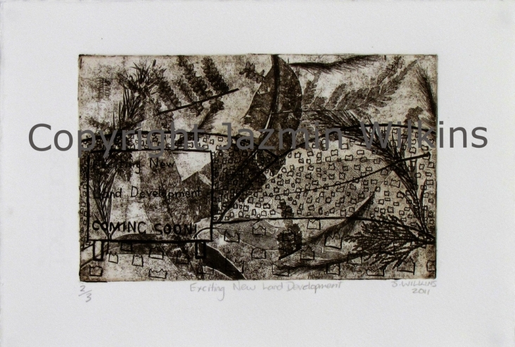 Exciting New Land Development - Multi-Plate Zinc Etching on Paper - 2011 Edition of 3