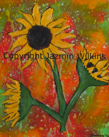 SOLD. Sunflowers - Acrylic on Canvas - 2014. 41cm X 51cm Painted on 10oz, Double Primed Cotton Canvas, Stretched on a Solid Pine Frame.