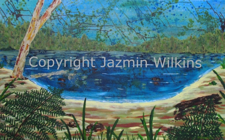 Wild (Hidden Lagoon) - Acrylic on Canvas - 2016 122cm x 76cm Painted on 10oz, Double Primed Canvas, Stretched onto a 4cm, Solid Pine Frame AUD$595 Plus Postage and Handling