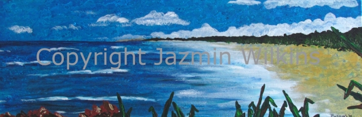 Hastings Point Headland - Acrylic on Canvas - 2016 91cm X 31cm Painted on 10oz, Double Primed Canvas, Stretched onto a 4cm, Solid Pine Frame SOLD