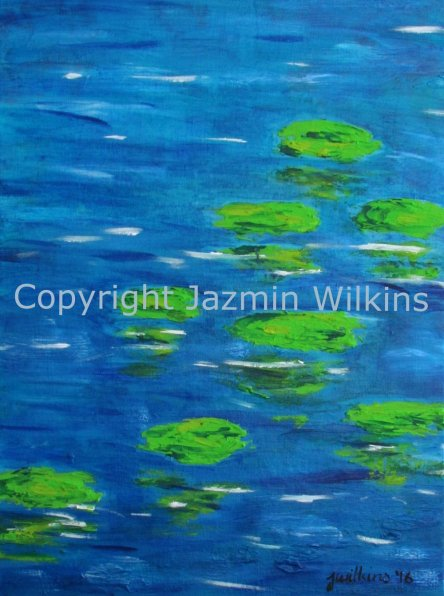 Lilypad Reflections - Acrylic on Canvas - 2016 61cm X 46cm Painted on Triple Primed Canvas, Stretched onto a 4cm, Lightweight Pine Frame AUD$195 Plus Postage