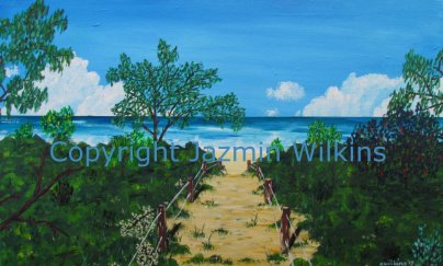 Path to Paradise - Acrylic on Canvas - 2017 76cm x 51cm, painted on a 10oz cotton canvas, stretched over a solid timber frame. The vegetation dissipates, and paradise reveals itself - an empty stretch of beach, as far as the eye can see. AUD$200 plus shipping