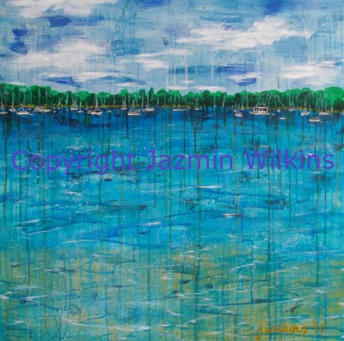 Eternal Summer - Acrylic on Canvas - 2017 102cm x 102cm, painted on a 10oz canvas, stretched onto a 4cm lightweight wooden frame. SOLD A peaceful and idyllic landscape is interrupted by a plethora of holidaymakers, who temporarily rest on the not-to-distant horizon. Will they treat this special place with respect, or will it become another casualty in humankind's quest to conquer the environment?